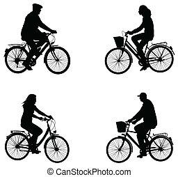 stadt, radfahrer, silhouetten
