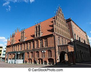 stadt, rathaus, hannover, zentrieren, hall), (old, altes, germany.