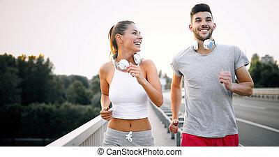 stadt, rennender , paar, jogging, draußen