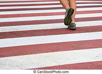 stadt, rennender