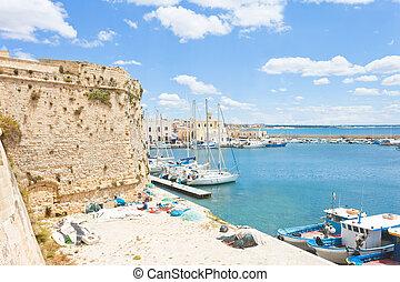 stadt, segeln, porto , gallipoli, -, wand, apulia,...
