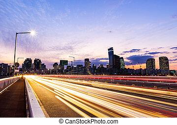 stadt, seoul, auto- licht