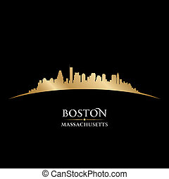 stadt, silhouette, boston, skyline, schwarz, massachusetts,...
