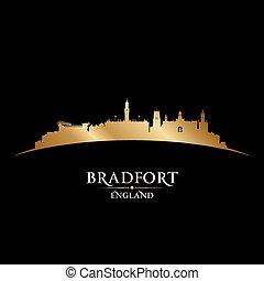stadt, silhouette, bradfort, skyline, schwarzer hintergrund, england