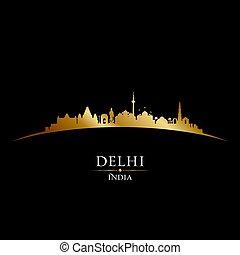 stadt, silhouette, delhi, indien, skyline, schwarzer hintergrund