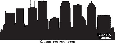 stadt, silhouette, florida, skyline, vektor, tampa