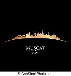 stadt, silhouette, oman, skyline, schwarzer hintergrund, muskatellerwein