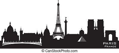 stadt, silhouette, paris frankreich, skyline, vektor