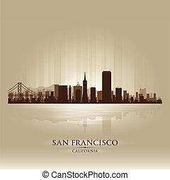 stadt, silhouette, san, skyline, kalifornien, francisco