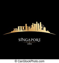 stadt, silhouette, singapur, skyline, schwarzer hintergrund