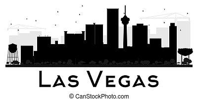 stadt, silhouette., skyline, las vegas, schwarz, weißes, las