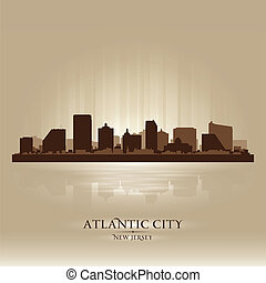 stadt, silhouette, stadt, skyline, atlantisch, new jersey