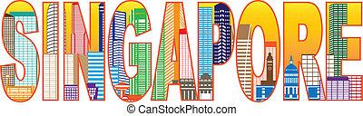 stadt, singapur, farbe, text, abbildung, skyline