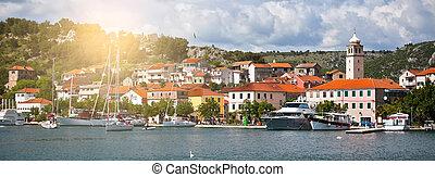 stadt, skradin, klein, historisch, kroatien
