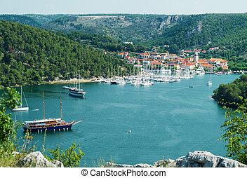 stadt, skradin, schiffe, jachten, bucht, croatia.