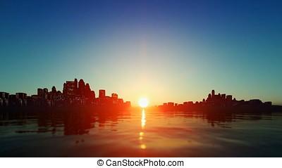 stadt skyline, gegen, sonnenuntergang, mit, schöne , see,...