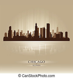 stadt skyline, illinois, silhouette, chicago