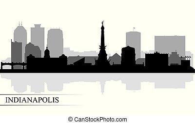 stadt skyline, indianapolis, silhouette, hintergrund