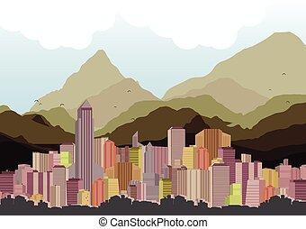 stadt skyline, mit, berge