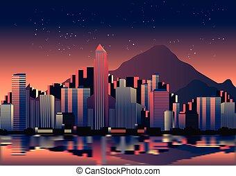 stadt skyline, nacht