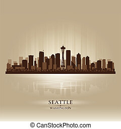 stadt skyline, seattle, washington silhouette