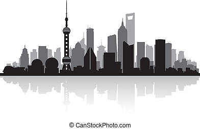 stadt skyline, shanghai, porzellan, silhouette