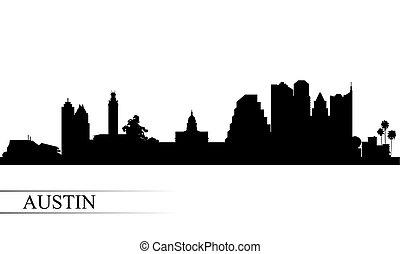stadt skyline, silhouette, austin, hintergrund