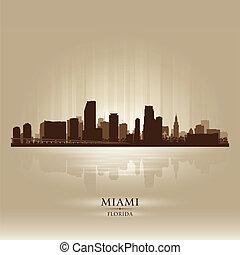 stadt skyline, silhouette, florida, miami