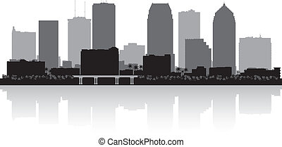 stadt skyline, silhouette, florida, tampa