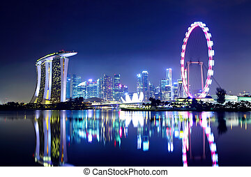 stadt skyline, singapur, nacht