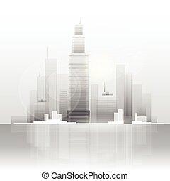 stadt skyline, wolkenkratzer, hintergrund, cityscape, ansicht