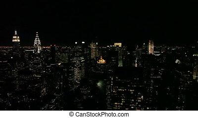 stadt, -, skyline, york, schwenken, neu
