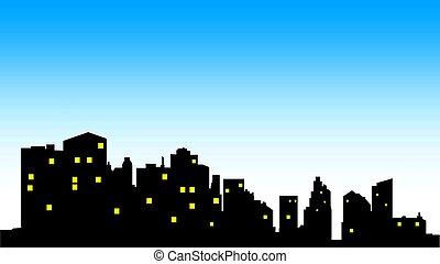 stadt skyline, zentrieren