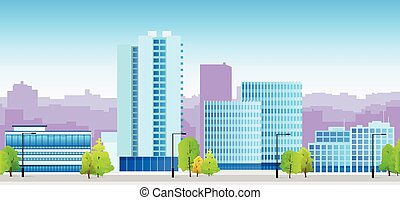 stadt, skylines, blaues, abbildung, architektur, gebäude, cityscape