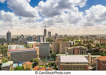 stadt, -, stadtzentrum, hauptstadt, kenia, nairobi