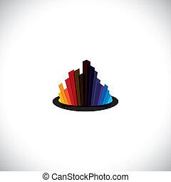 stadt, stadtzentrum, ikone, oder, skyline, von, groß, gewerblich, gebäude, -, vektor, graphic., der, bunte, abbildung, enthält, hohes steigen, in, farben, mögen, rotes , orange, schwarz, blaues, usw