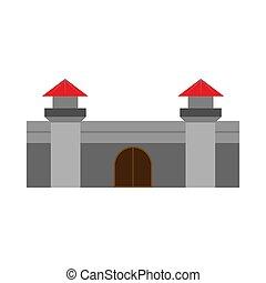 stadt, stein, begriff, mittelalterlich, vektor, fantasie, draußen, außen, denkmal, hofburg, icon., geschichte