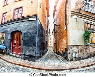 stadt, straßen, altes , stockholm
