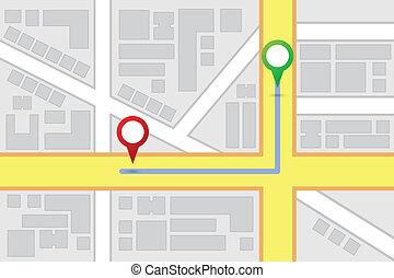 stadt, strecke, bestimmungsort, landkarte