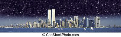 stadt, türme, starry, aus, zwilling, york, nacht, neu