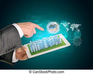 stadt, tablette, geschaeftswelt, screen., edv, pc., hände, berühren, gebrauchend, erde, mann