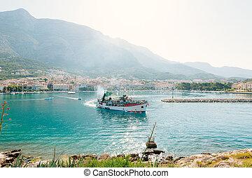 stadt, touristen, makarska, schiff