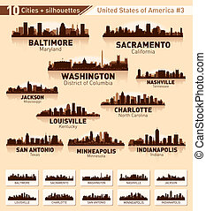 stadt, usa, 10, set., skyline, #3, städte