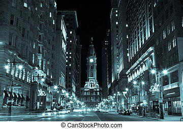 stadt, usa, pennsylvania, philadelphia, nacht, halle