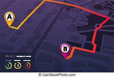 stadt, vektor, landkarte, strecke, infographic., modern, map...
