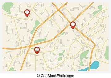 stadt, vektor, rotes , markierungen, landkarte