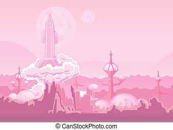 stadt, von, zukunft, auf, noch ein, planet, und, rakete, sprengen, ab., raum, kolonie, menschliche siedlung, auf, mars., vektor, illustration.