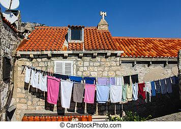 stadt, wäscherei, mittelalterlich, dubrovnik, kroatien, hängender