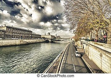 stadt, wade, paris., wunderbar, entlang, fluß, ansicht