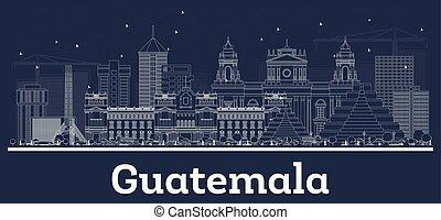 stadt, weißes, guatemala, grobdarstellung, skyline, gebäude.